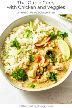 Thai Green Curry with Chicken and Veggies! Tender chicken, fresh veggies, and flavorful aromatics, like ginger and garlic, all come together with green curry paste and creamy coconut milk. Check out this recipe and create a delicious and light dinner the whole family will enjoy! #thai #curry #chicken Easy Whole 30 Recipes, Good Healthy Recipes, Thai Green Curry Recipes, Curry Vert, Green Curry Chicken, Paste Recipe, Curry Dishes, Cooking Recipes, Tai Food Recipes