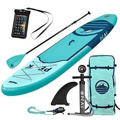 Top Inflatable Stand Up Paddle Board Complete Package Thick) Includes Adjustable Paddle, Journey Backpack, Coil Leash (Aqua) Best Inflatable Paddle Board, Inflatable Kayak, Best Paddle Boards, Sup Stand Up Paddle, Paddle Board Surfing, Sup Yoga, Standup Paddle Board, Sup Surf, Thing 1