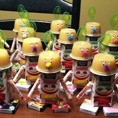 Robot birthday treats for preschool. With juice boxes, applesauce, smarties, and sticker boxes.