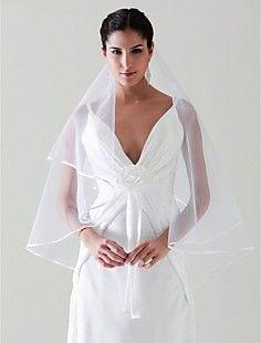 1 Layer Fingertip Length Wedding Veil – USD $ 6.78