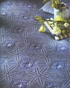Square motif crochet bedspread with diagram