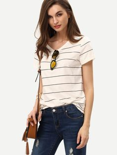 Beige+Short+Sleeve+Striped+T-shirt+9.99