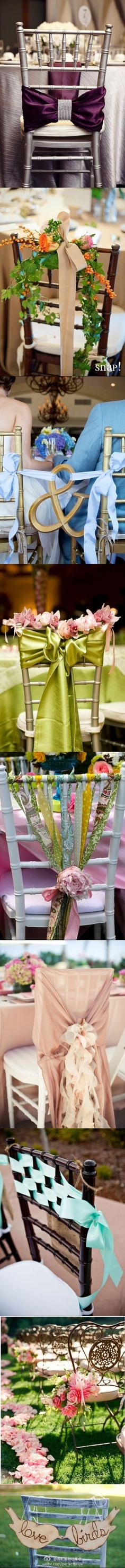Great ideas to decorate the chairs at weddings
