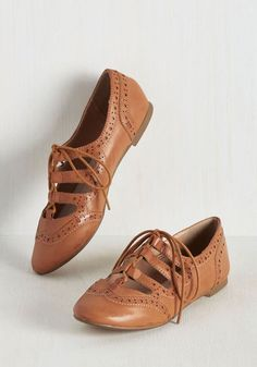 Waltz the Latest? Flat by Restricted - Tan, Solid, Cutout, Work, Vintage Inspired, 50s, Better, Lace Up, Menswear Inspired, Flat