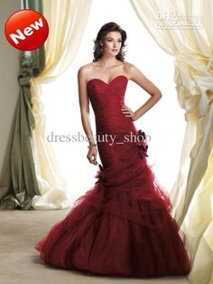 Wholesale Mermaid Wedding - Buy 2013 Sweetheart Wine Red Mermaid Wedding Dresses Romantic Lace Tulle Floral Cheap Custom Made Gowns, $156.31 | DHgate