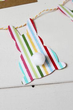 DIY Girlande Papier Hase Ostern Bommel