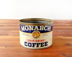 Monarch coffee tin, vintage 1930s or 1940s, with a noble lion logo. Looking for some creative ideas for re-use! Planter, candleholder, what else...?