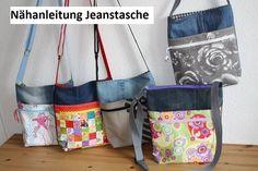 Jetzt mit der PDF-Nähanleitung + Schnittmuster eine tolle Jeanstasche mit zwei Reißverschlüssen + Innentasche nähen. Auch für Anfänger gut machbar.