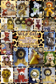 Wild Cat Toys Part A - Animal Crochet Pattern Round Up via @beckastreasures