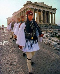 Evzones march past the Parthenon, Acropolis, Athens, Greece Mykonos, Santorini, Paros, Greek Independence, Acropolis, Parthenon Greece, Greek Culture, Athens Greece, Ancient Greece