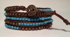 Turquiose & Bronze 5 Wrap on Dark Brown Leather.BoHo fun for anytime Dark Brown Leather, Natural Leather, Free Spirit, Handmade Bracelets, Boho Chic, Bronze, Turquoise, Crafty, Clever