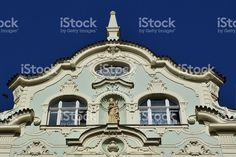 Pediment of a building typical of Prague foto stock royalty-free