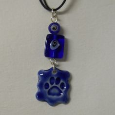 Kitten Paw Cat Paw Ceramic Pendant with Glass by celticsouljewelry, $15.00