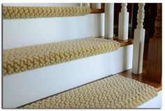Peel and stick carpet stair treads - DIY Treads - Modern Treads for refinished stairs- basement stair idea