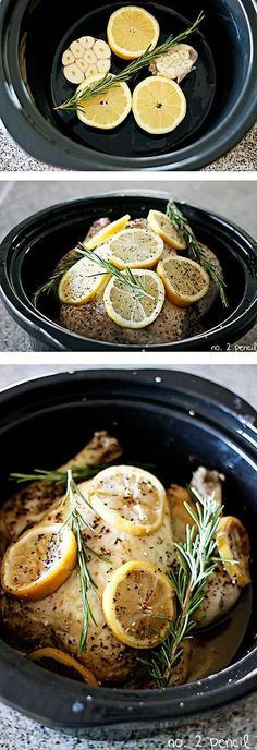 Slow Cooker Lemon Garlic Chicken - 4 lemons, 2-3 heads of garlic, 1 whole chicken 4-5 lbs, Fresh rosemary, or any fresh herbs, All-purpose steak seasoning or salt and pepper