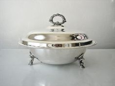 silver serving dishes   Large Vintage Silver Serving Dish by dovetailvintage on Etsy