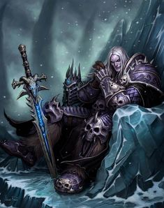 World of Warcraft: Wrath of the Lich King - Arthas Menethil on throne