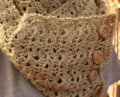 Crochet Infinity Scarf with Buttons Bellflower by CEDdesigns, $37.00