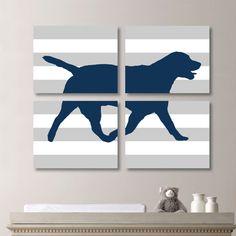 Modern Labrador Dog Quad - Baby. Decor. Nursery. Children. Kid. Boy. Girl. Animal - Shown in Gray & Navy Blue - You Pick the Size (NS-173)