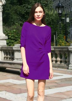 Arabella Purple Dress, at 25.00% off by CaeliNYC  Elegant shift dress that you'll want in every color . Versatile, comfortable, and timeless dress that can go from day to night. It has lovely topstitched pleats on waistline. The soft medium weight polyester fabric makes it comfortable. Slips on over head. Unlined. Comes in many colors.