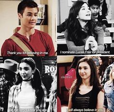 She believes in him but he doesnt believe in her, Farckle does. Lucas believes in Maya Riley Matthews, Boy Meets Girl, Girl Meets World, Riley And Lucas, Cory And Topanga, Disney Memes, Funny Disney, Old Disney, Disney Shows