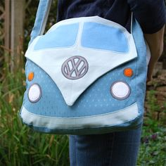 Campervan Bag - Sewing Bags and Purses - Bag Sewing Pattern, Bag Patterns To Sew, Pdf Sewing Patterns, Fabric Crafts, Sewing Crafts, Sewing Projects, Wood Crafts, Paper Crafts, Denim Bag