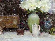 Green Vase and Coffee Grinder by William Schneider, Oil, 18 x 24 Still Life, Fine Art, Coffee, Artist, Oil, Hydrangeas, Crafts, Painting, Manualidades