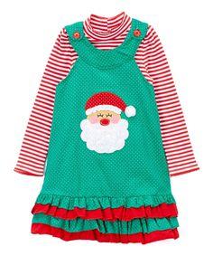 Green Santa Jumper & Stripe Top - Infant Toddler & Girls