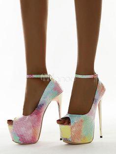 Open Toe High Heels, Sexy High Heels, Womens High Heels, Talons Sexy, Peep Toe, Stiletto Heels, Shoes Heels, Sexy Sandals, Snake Print