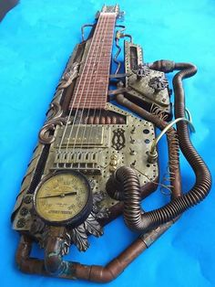 Steampunk lap steel guitar. *Fully functional as an instrument.