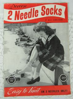 Vintage Doreen 2 Needle Socks, by Neil Armstrong, 1946, Easy to Knit by YzTreasures on Etsy