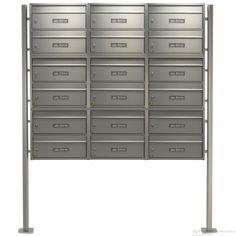18er Edelstahl Briefkastenanlage, freistehend mit Burg Wächter Briefkasten, liegend - Standelemente, massiv aus Aluminium-Profil, eloxiert
