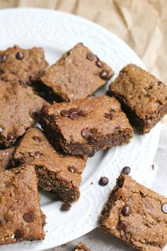 Healthy chocolate chip brownies--ooey, gooey, and chewy, these delicious vegan and gluten-free treats will draw a giant smile on your face!