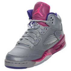 Girls' Grade School Air Jordan Retro V Basketball Shoes | FinishLine.com | Cement Grey/Pink Foil/Raspberry Red