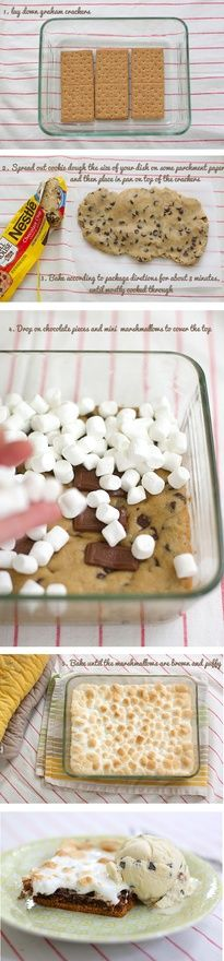 Smores Bake-layer graham crackers on bottom of lightly greased 9x13 pan, spread chocolate cookie dough over crackers and bake about 8 min until almost baked all way through. take out of oven and lay hershey candy bar pieces (I think you could also use choco chips)  and top with mini marshmellows.  put back in oven and bake until marshmellows are brown and fluffy.  ENJOY-made these for a party and they were a hit. Will be making again and again