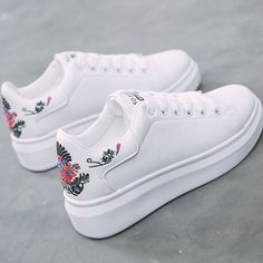 Women sneakers on the platform Embroider white designer sneakers for women heigh. Women sneakers on the platform Embroider white designer sneakers for women height increasing vulcanize shoes women. Sneakers Mode, Girls Sneakers, Wedge Sneakers, Casual Sneakers, Girls Shoes, Sneakers Fashion, Casual Shoes, Fashion Shoes, Shoes Sneakers