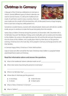 Reading comprehension - Christmas in Germany Reading Comprehension Worksheets, Comprehension Strategies, Christmas In Germany, Christmas Worksheets, English Activities, Educational Activities, Third Grade Reading, Authors Purpose, Common Core Reading