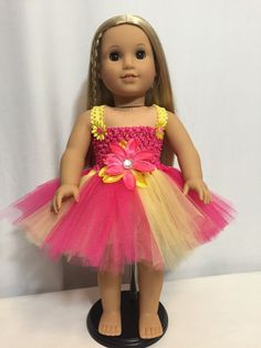 American Girl Doll Yellow And Hot Pink Tutu dress clothes fits all 18 dolls American Girl Doll Costumes, American Girl Dress, American Girls, Ag Clothing, Ag Doll Clothes, Dress Clothes, Doll Fancy Dress, Pink Tutu Dress, Doll Sewing Patterns