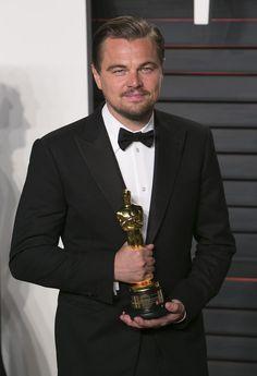 Leonardo DiCaprio and His 2016 Oscars Statue.