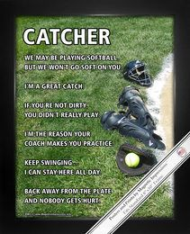 Buy Softball Catcher Gear Poster Print and show team spirit. Shop Motivational Softball Gifts for Girls today! Funny Softball Catcher Sayings Poster Prints are made in the USA. Softball Catchers Gear, Softball Catcher Quotes, Softball Memes, Softball Crafts, Softball Players, Girls Softball, Fastpitch Softball, Softball Stuff, Softball Things