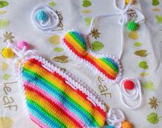 Crochet baby bikiniswimsuitbaby bikinipink toddler by EarnCrochet