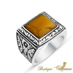 #stylish Hand Made Silver Man Ring Square Yellow Amber  #jewelry #ottoman