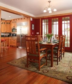Charmant Classy Craftsman Style Interiors Create Beautiful House: Nice Bold Painted Dining  Room Open Floor To Kitchen With Wooden Floor And Classic F.