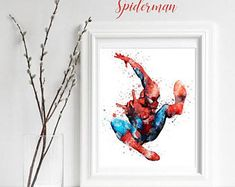 Superhero Spiderman Watercolor Poster Print , Wall Decor Artwork Painting Illustration Home Decor Kids Decor Nursery Decor Marvel DC Comic
