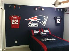 Ultra Mount jersey display hangers help create the ultimate New England Patriots bedroom!: