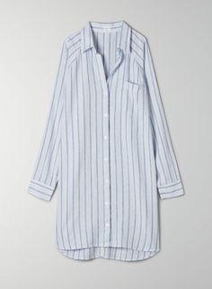 BOYFRIEND BUTTON-UP DRESS - Relaxed button-up shirt dress Button Up Dress, Button Up Shirts, Easy Shape, New Boyfriend, Fabric Shop, Wool Coat, Blue Denim, One Piece, Buttons