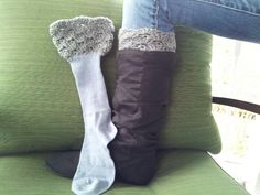 Boot socks made with a simple pair of socks and a touch of crochet!