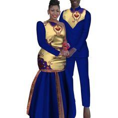 African Couples Sets Man and Women Matching Dashiki Print African Shirts For Men, African Attire For Men, African Clothing For Men, African Print Fashion, African Wear, Couples African Outfits, African Dresses Men, Couple Outfits, African Traditional Wedding Dress