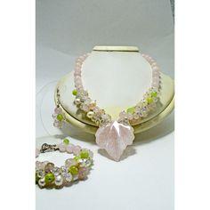 Wedding Pink Quartz Statement Fashion Modern Elegant Party Bridal Set,... ❤ liked on Polyvore featuring jewelry