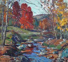 """""""Autumn Brook,"""" Aldro Thompson Hibbard, oil on board, 17 x 19"""", McDougall Fine Arts Galleries."""
